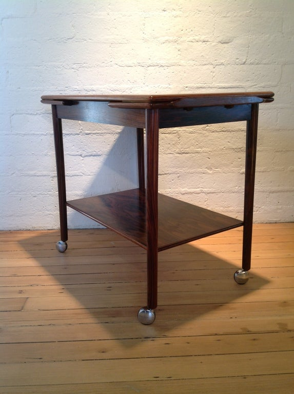 Rosewood bar cart by Drylund For Sale 1