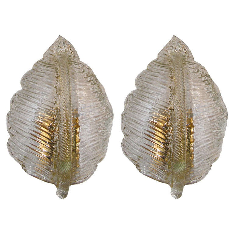 Pair of Barovier Murano Leaf Shaped Sconces
