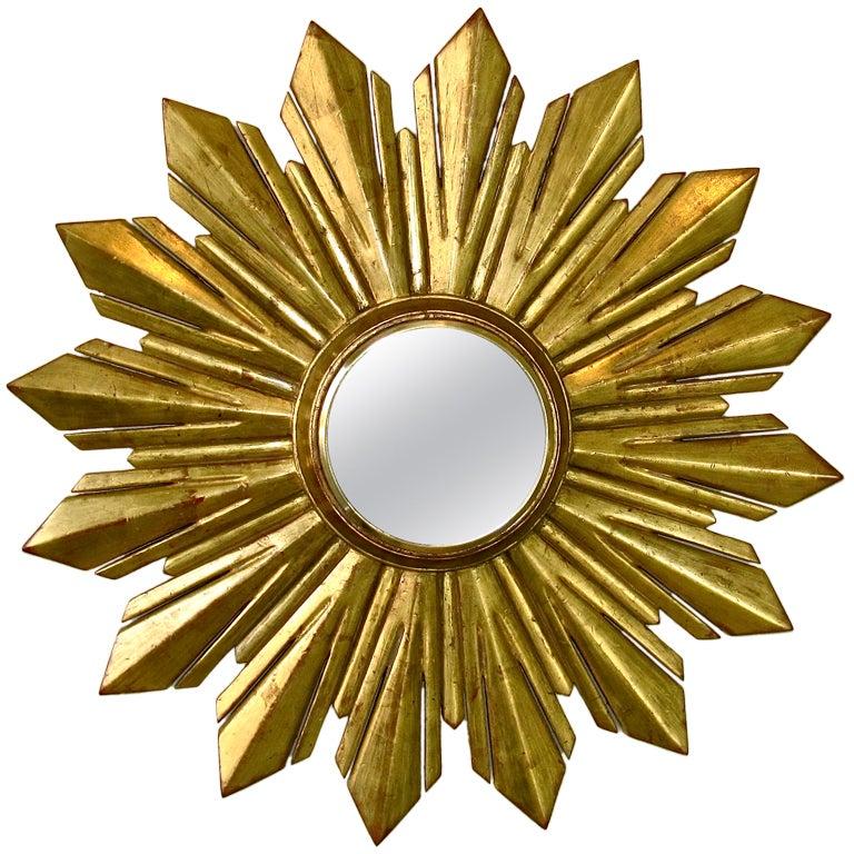 Convex Wall Mirror convex soleil sunburst gilt wood wall mirror at 1stdibs