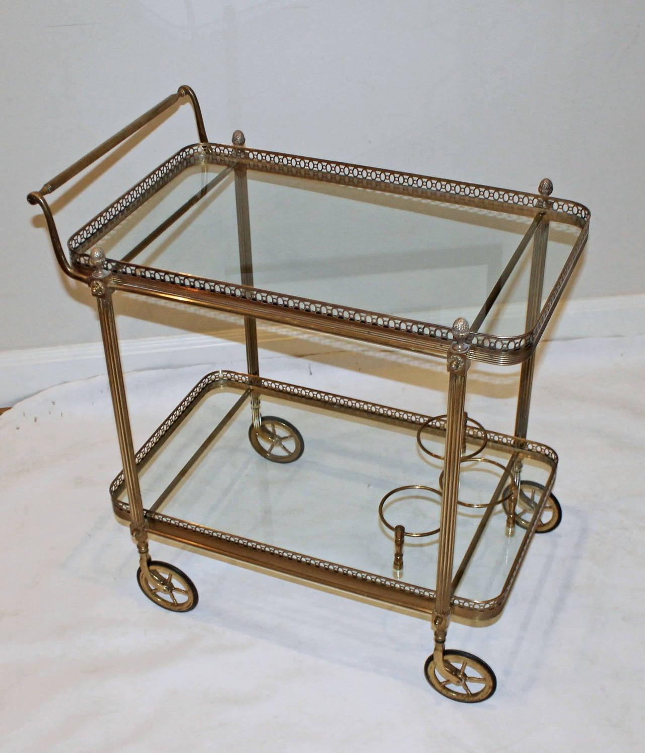 french neoclassic vintage brass bar cart at 1stdibs. Black Bedroom Furniture Sets. Home Design Ideas