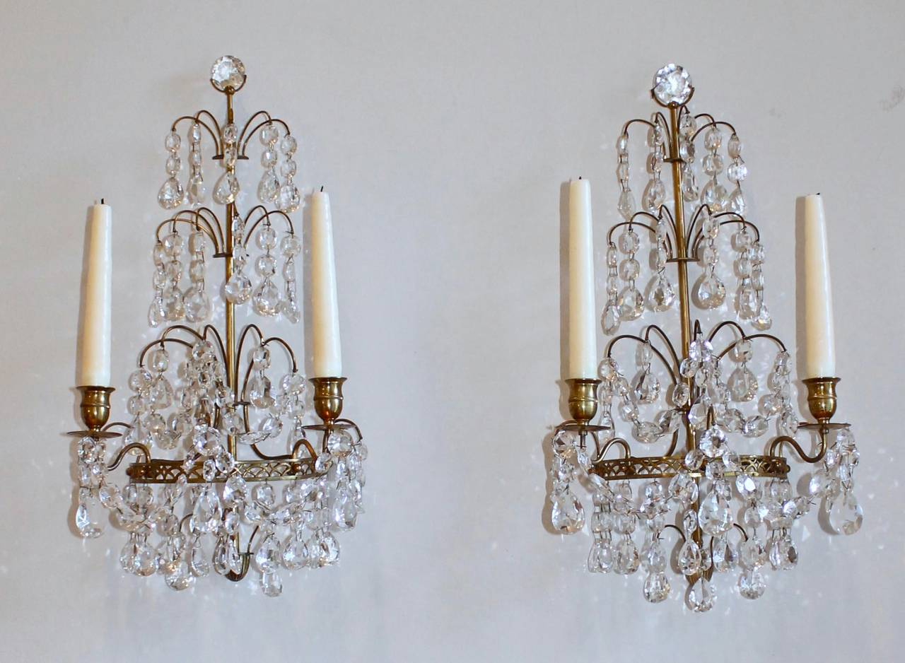 Pair of Swedish Gustavian Style, Crystal and Bronze Candle Wall Sconces For Sale at 1stdibs
