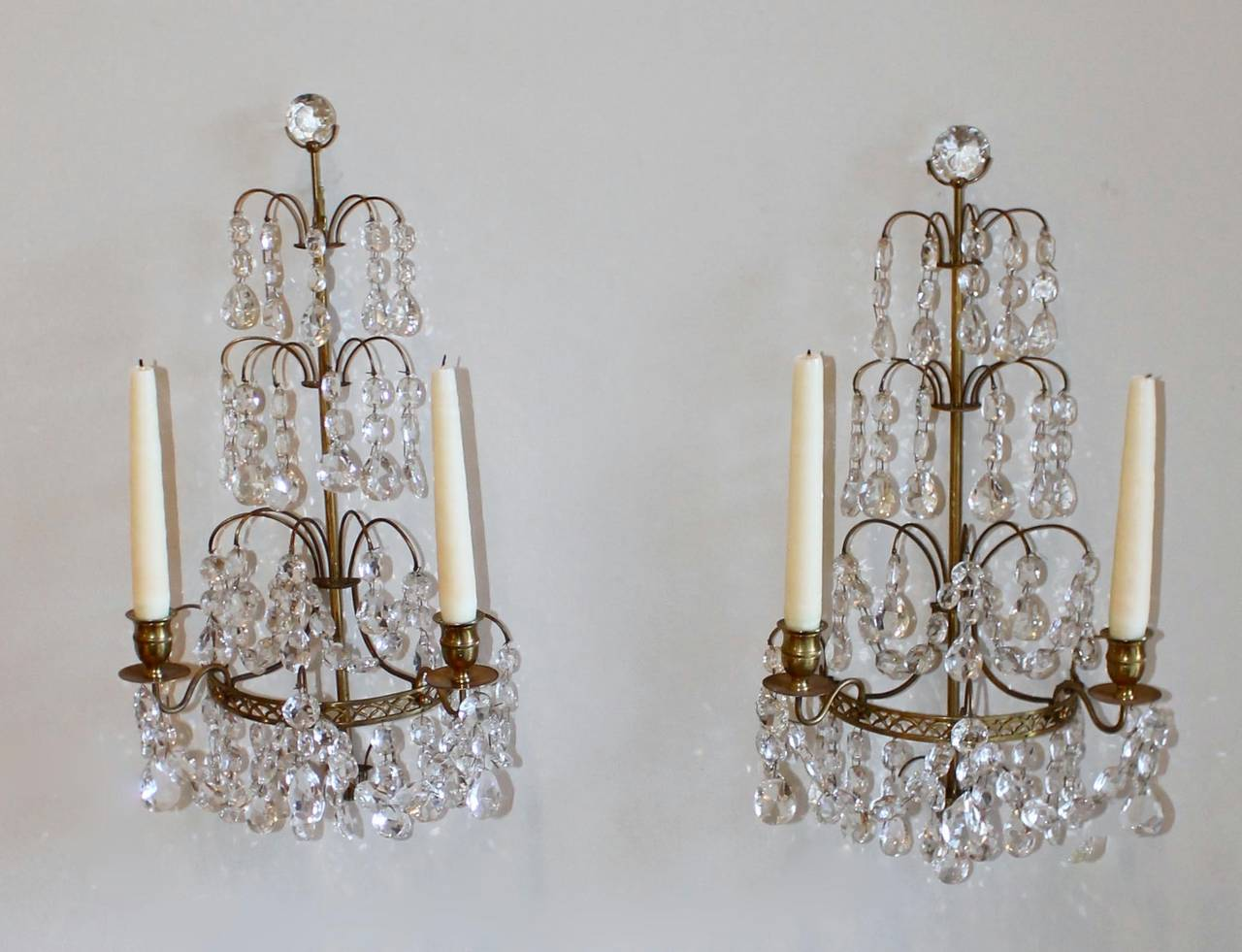 Pair of swedish gustavian style crystal and bronze candle wall pair of swedish gustavian style crystal and bronze candle wall sconces 3 amipublicfo Gallery