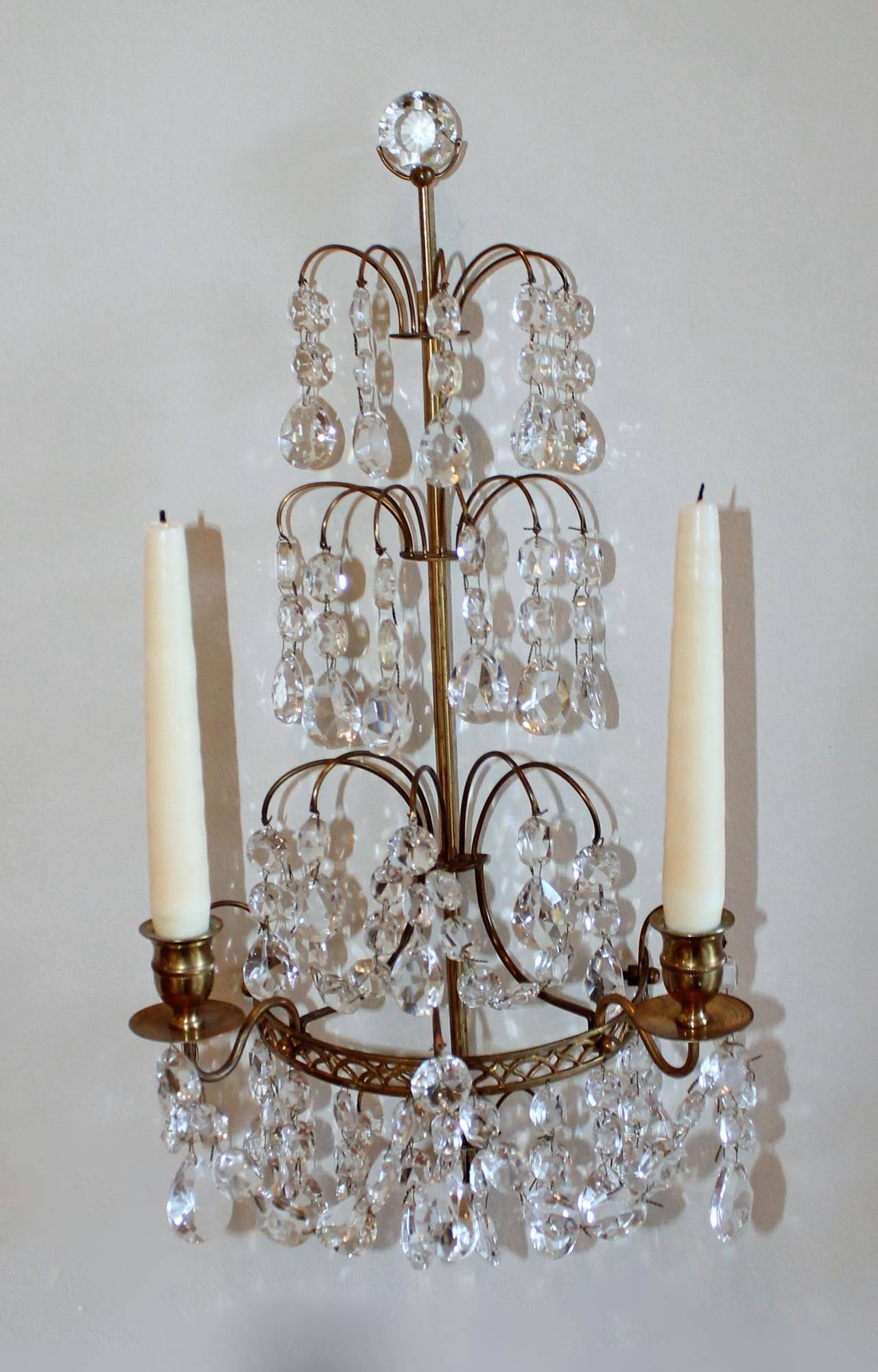 Pair Of Swedish Gustavian Style Crystal And Bronze Candle