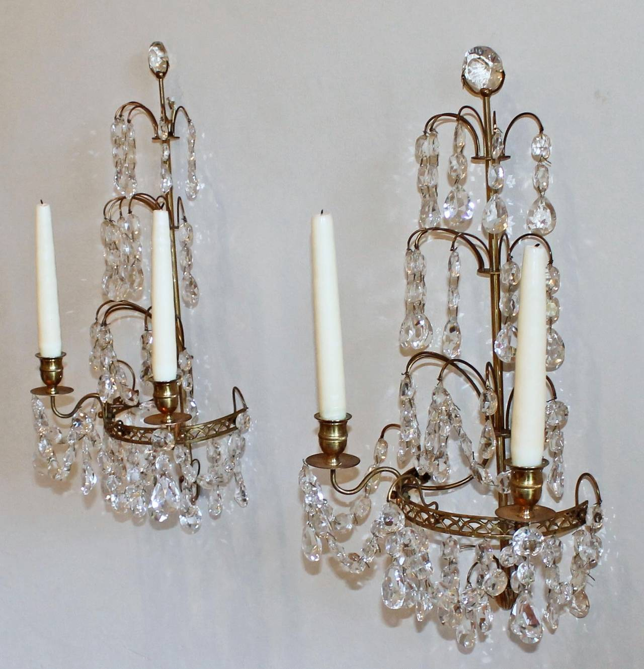 Wall Sconces For Candles With Crystals : Pair of Swedish Gustavian Style, Crystal and Bronze Candle Wall Sconces For Sale at 1stdibs