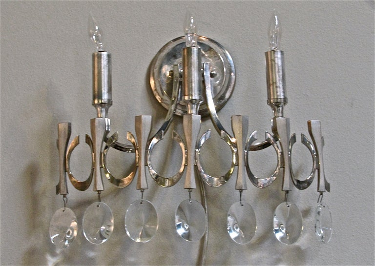 Italian Crystal Wall Lights : Pair Sciolari Italian Crystal Nickel Wall Light Sconces For Sale at 1stdibs