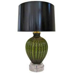 Murano Italian Deep Green Gold Ribbed Table Lamp