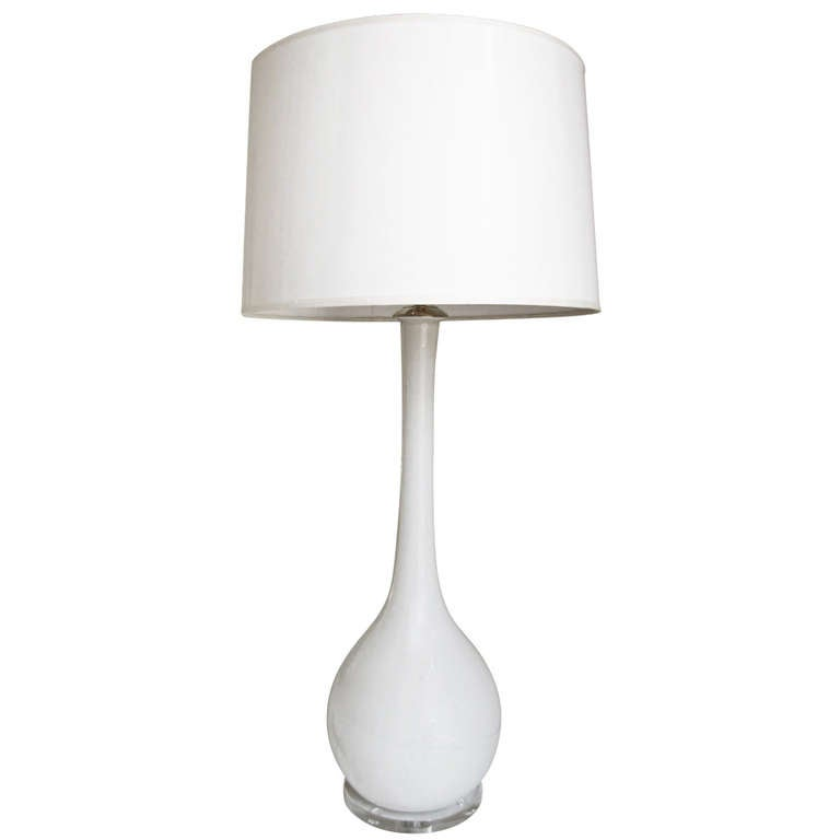 Tall Murano Italian White Glass Table Lamp At 1stdibs