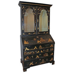 Early 18th Century English Queen Anne Chinoiserie Japanned Secretaire