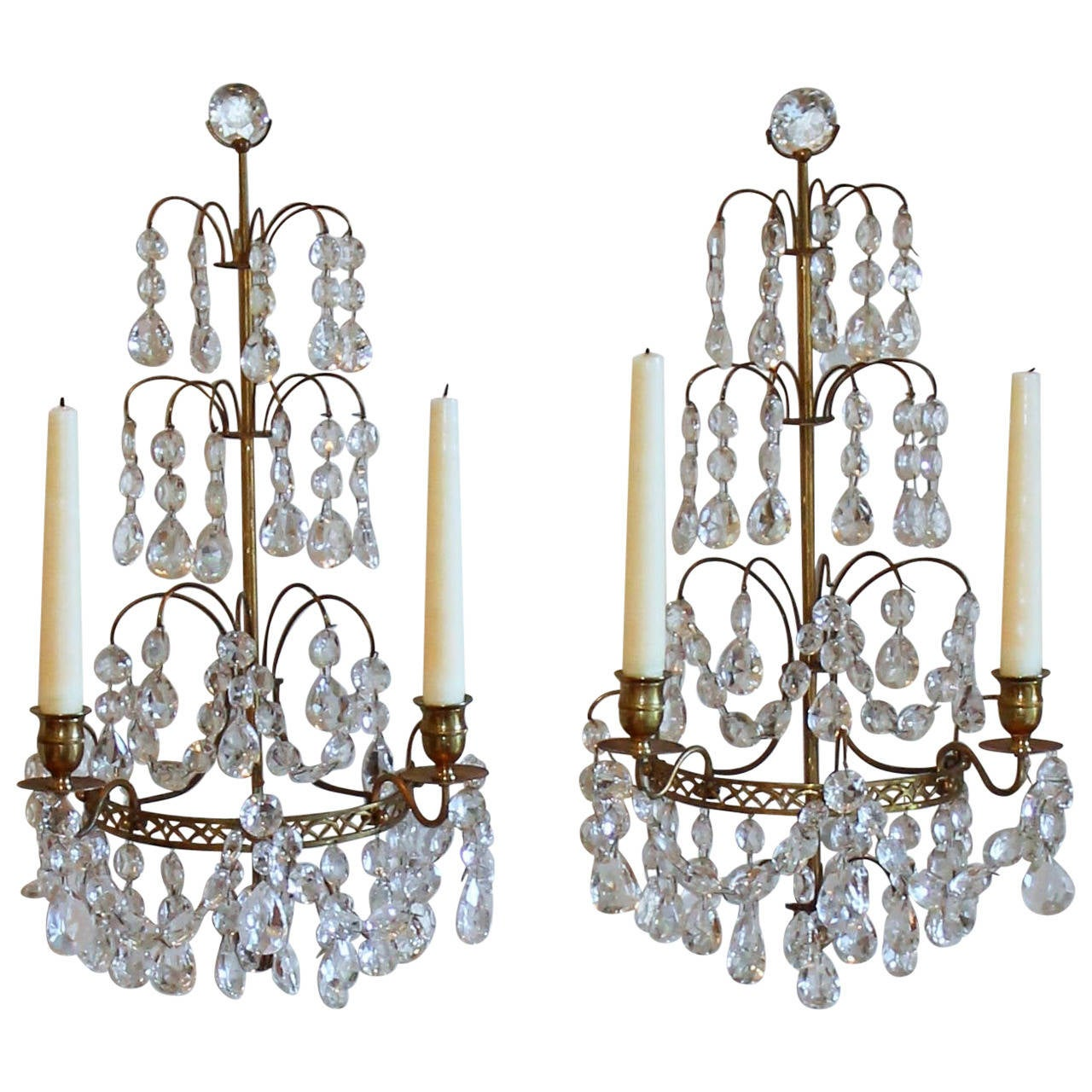 Pair Of Swedish Gustavian Style Crystal And Bronze Candle Wall Sconces For