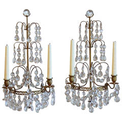 Pair of Swedish Gustavian Style, Crystal and Bronze Candle Wall Sconces