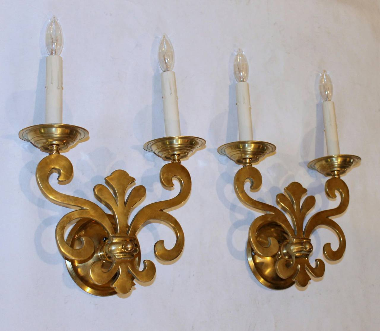 Pair Georgian Style Brass Wall Sconces at 1stdibs