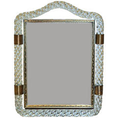 Murano Glass Rope Brass Picture Frame Manner of Venini