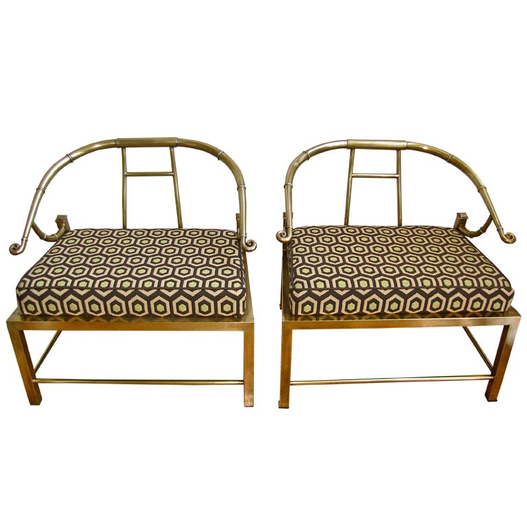 Mastercraft Furniture For Sale #22: Pair Brass Asian Empress Style Arm Chairs By Mastercraft 1