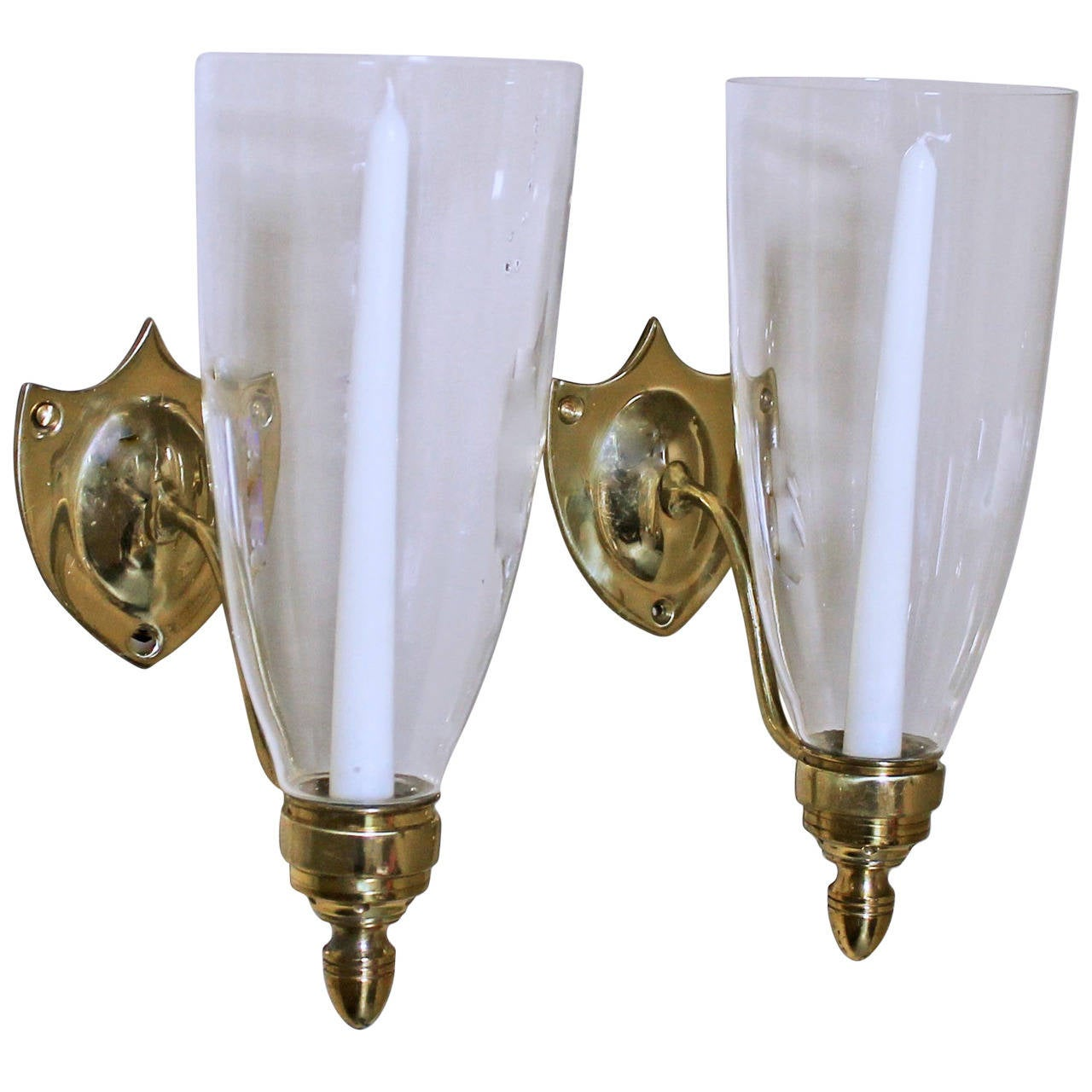 Pair Federal Style Sheild Back Brass Candle Wall Sconces at 1stdibs