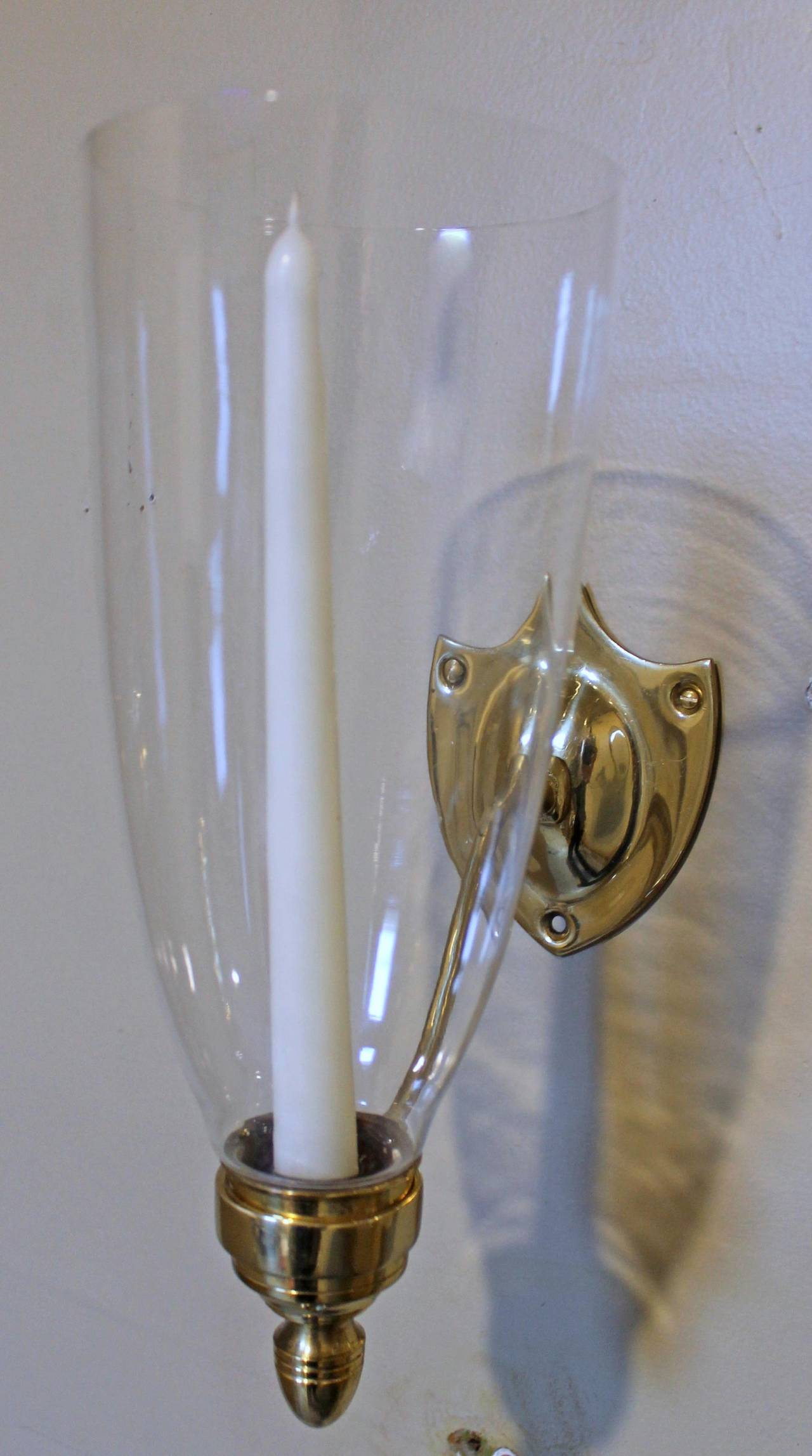 Candle Wall Sconces Brass : Pair Federal Style Sheild Back Brass Candle Wall Sconces at 1stdibs