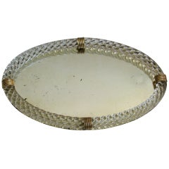 Oval Murano Glass Twisted Rope Vanity Tray Italian