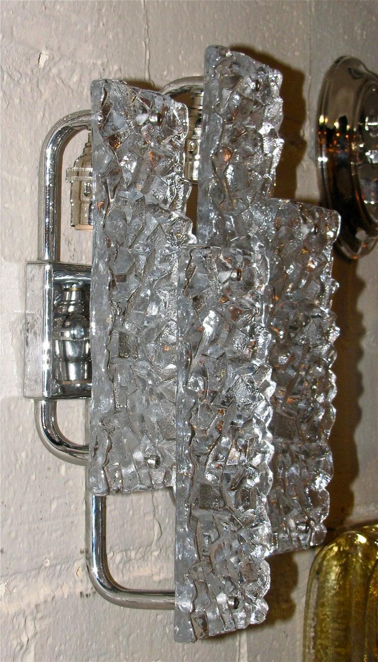 Pair Kalmar Textured Glass Panel Wall Light Sconces at 1stdibs