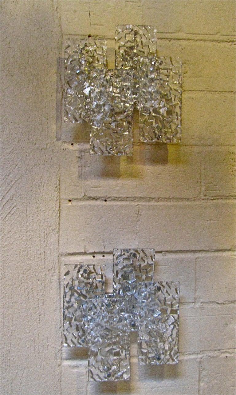 Wall Light Glass Panel : Pair Kalmar Textured Glass Panel Wall Light Sconces at 1stdibs