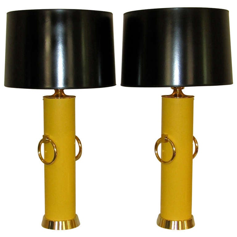 Pair Lightolier Tommi Parzinger Marigold Yellow Brass Ring Table Lamps. For Sale