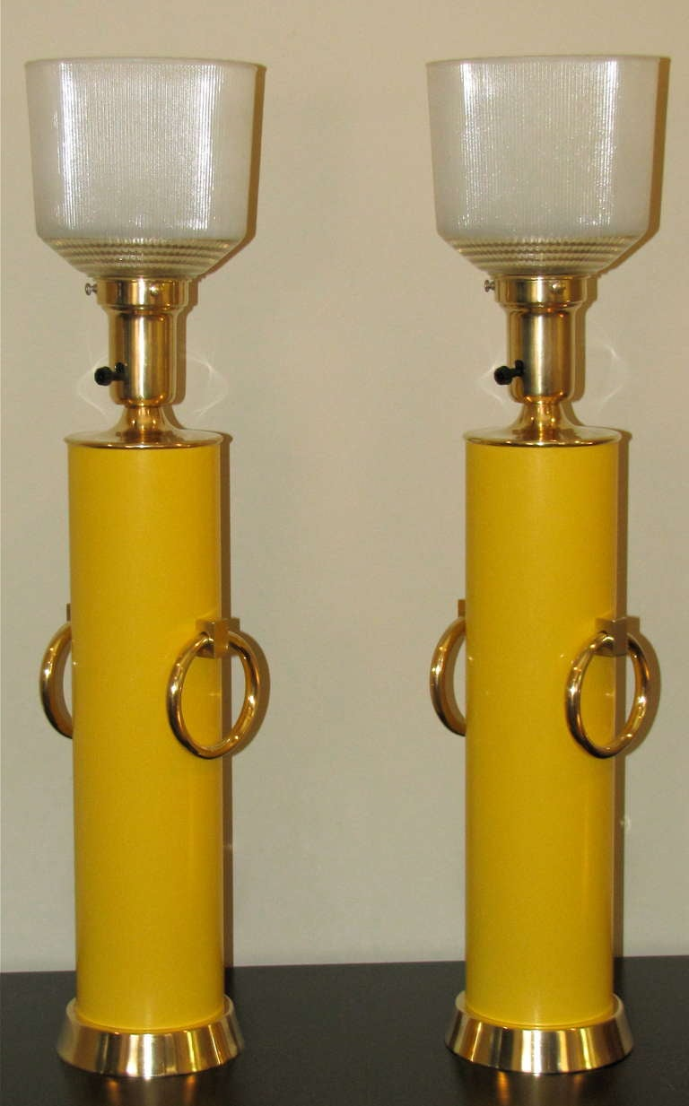 Pair Lightolier Tommi Parzinger Marigold Yellow Brass Ring Table Lamps. 7