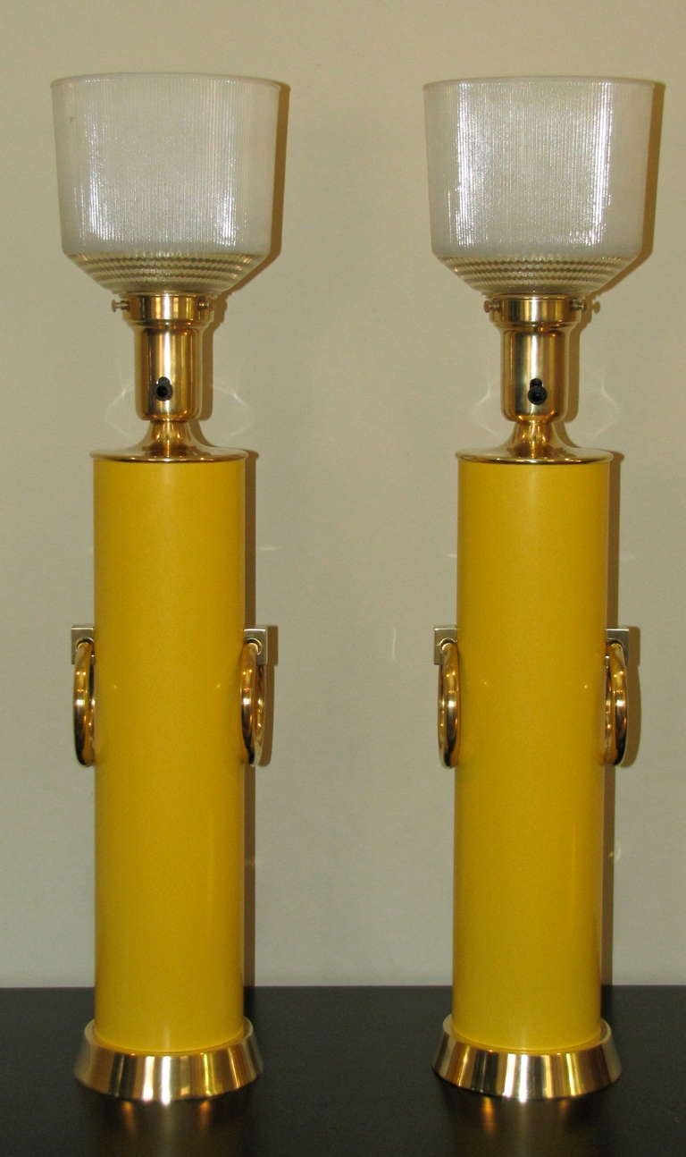 Mid-20th Century Pair Lightolier Tommi Parzinger Marigold Yellow Brass Ring Table Lamps. For Sale