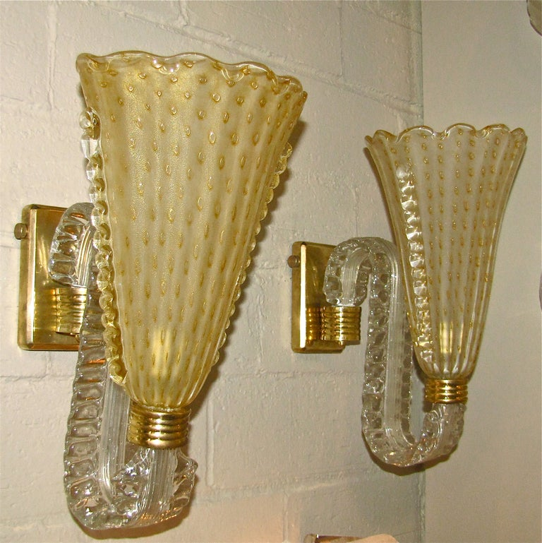 Gold Glass Wall Lights : Pair of Large Barovier Murano Gold Glass Wall Light Sconces For Sale at 1stdibs