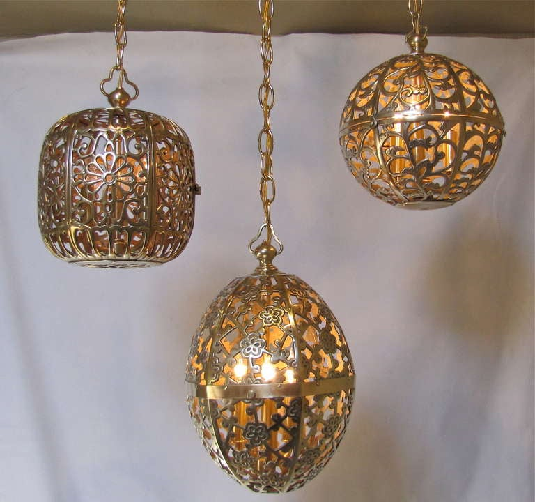Trio Mixed Pierced Brass Asian Ceiling Pendants 7