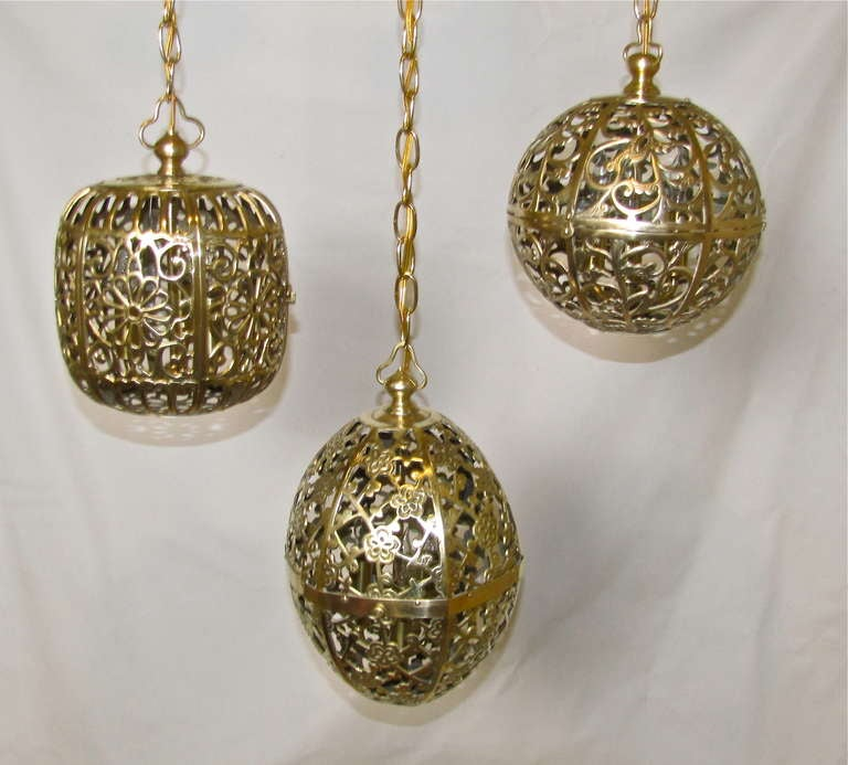 Trio Mixed Pierced Brass Asian Ceiling Pendants 10