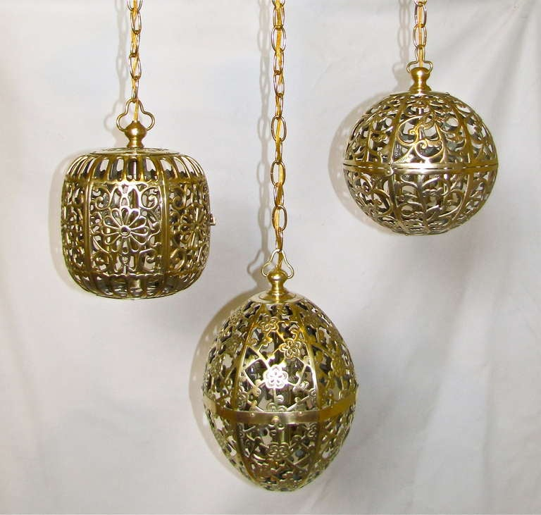 Trio Mixed Pierced Brass Asian Ceiling Pendants 2