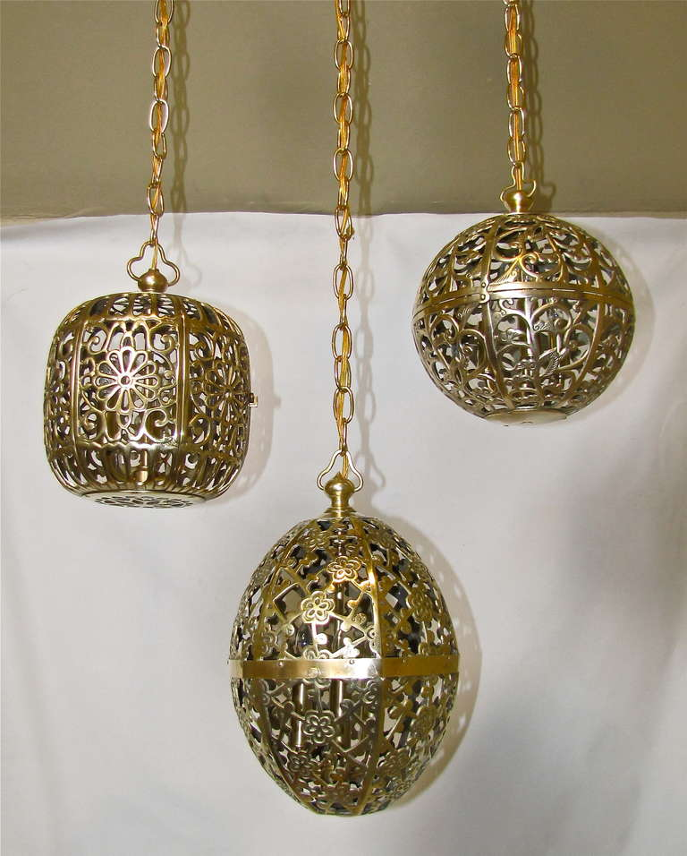 Trio Mixed Pierced Brass Asian Ceiling Pendants 3