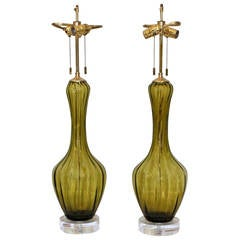 Pair of Absinthe Green Colored Murano Glass Lamps