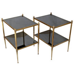 Pair of French Two-Tier Brass Side End Tables