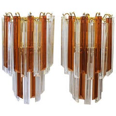 Pair of Venini Style Triedi Wall Sconces in Sienna and Clear Glass