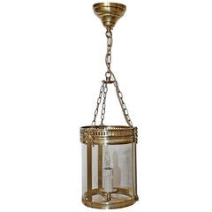 Diminutive French Brass Lantern Pendant Light