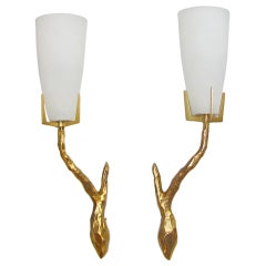 Pair Felix Agostini French Gilt Bronze Wall Sconces