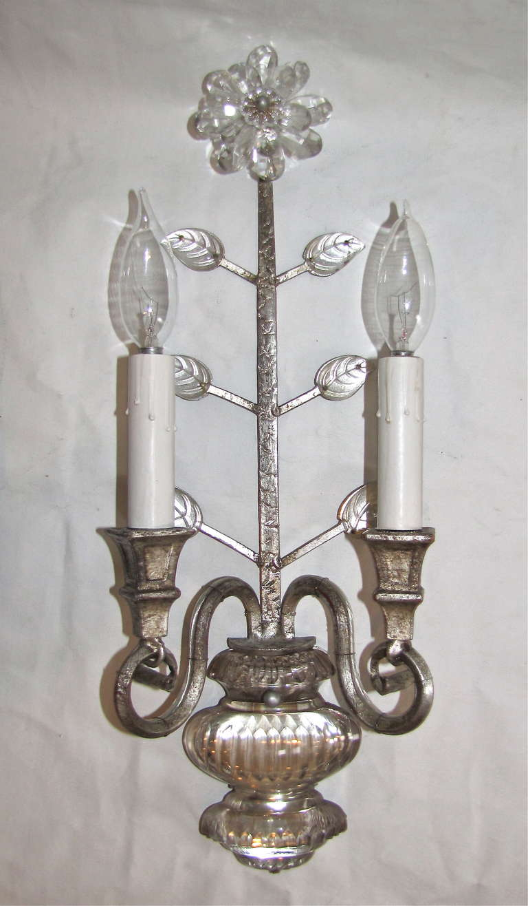 French Crystal Wall Sconces : Pair Bagues Style French Crystal Gilt Wall Sconces at 1stdibs