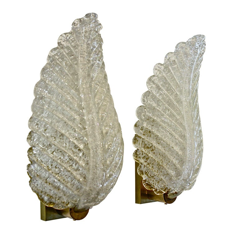 Wall Sconces With Leaves : Pair (Or 4) Barovier Murano Rugiadoso Leaf Wall Sconces at 1stdibs