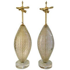 Pair Monumental Barovier Murano Oval Table Lamps With Gold Inclusions