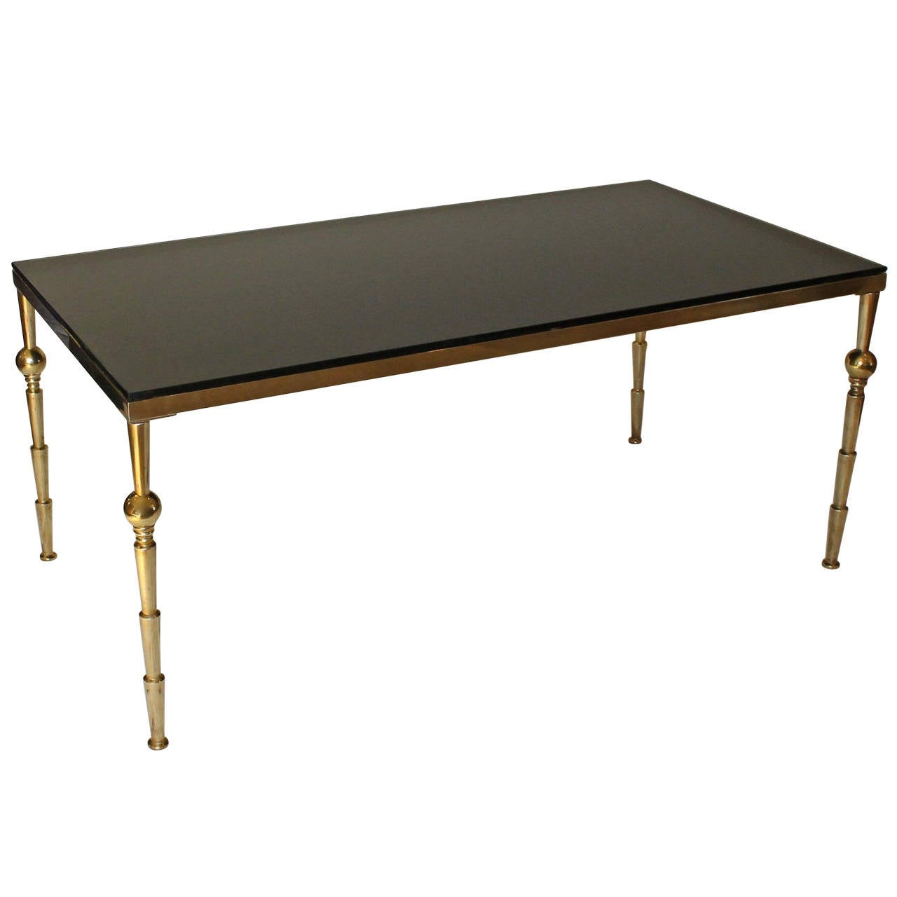 Large french moderne style brass glass cocktail table at for Big glass coffee table