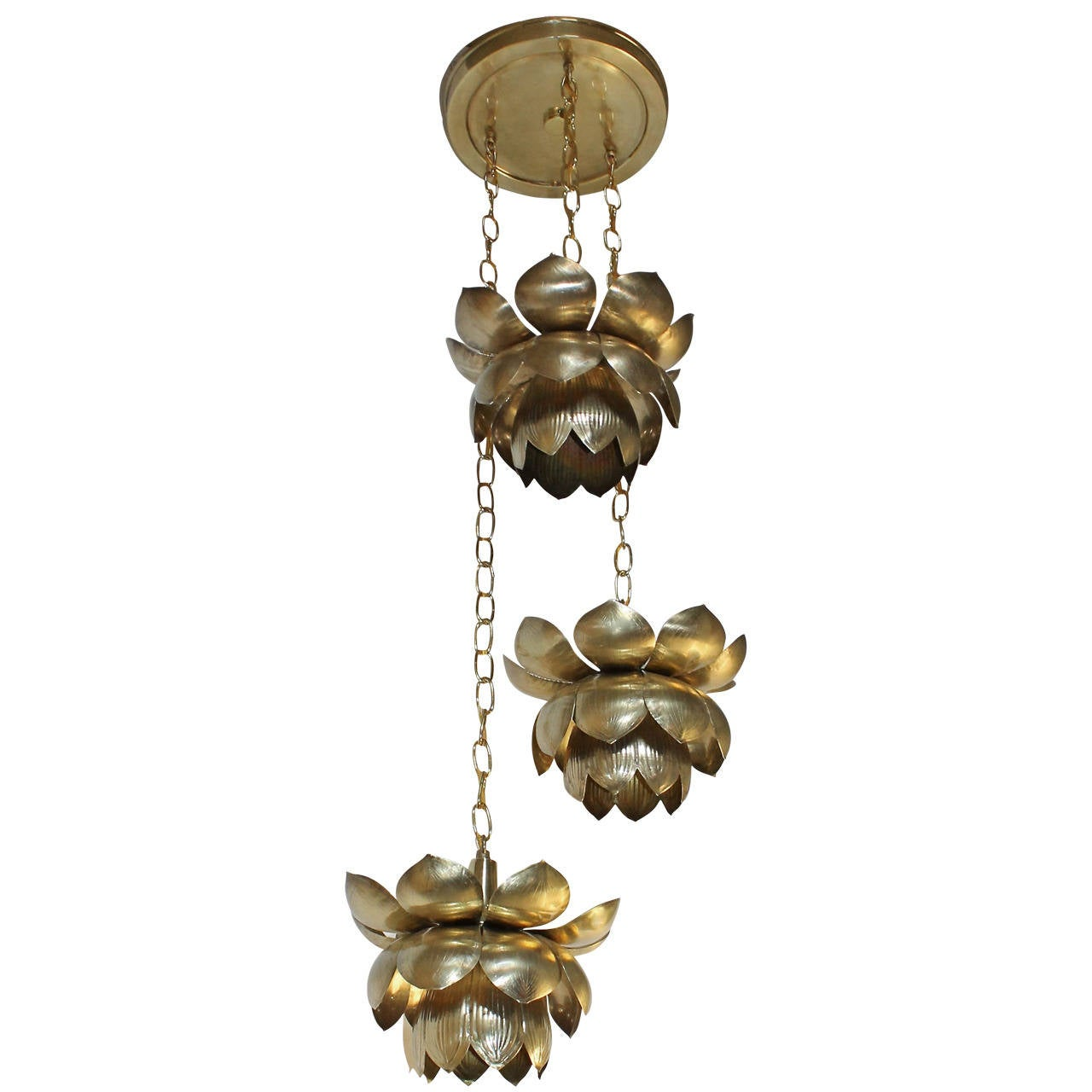 Feldman Three Pendant Light Lotus Brass Chandelier 1