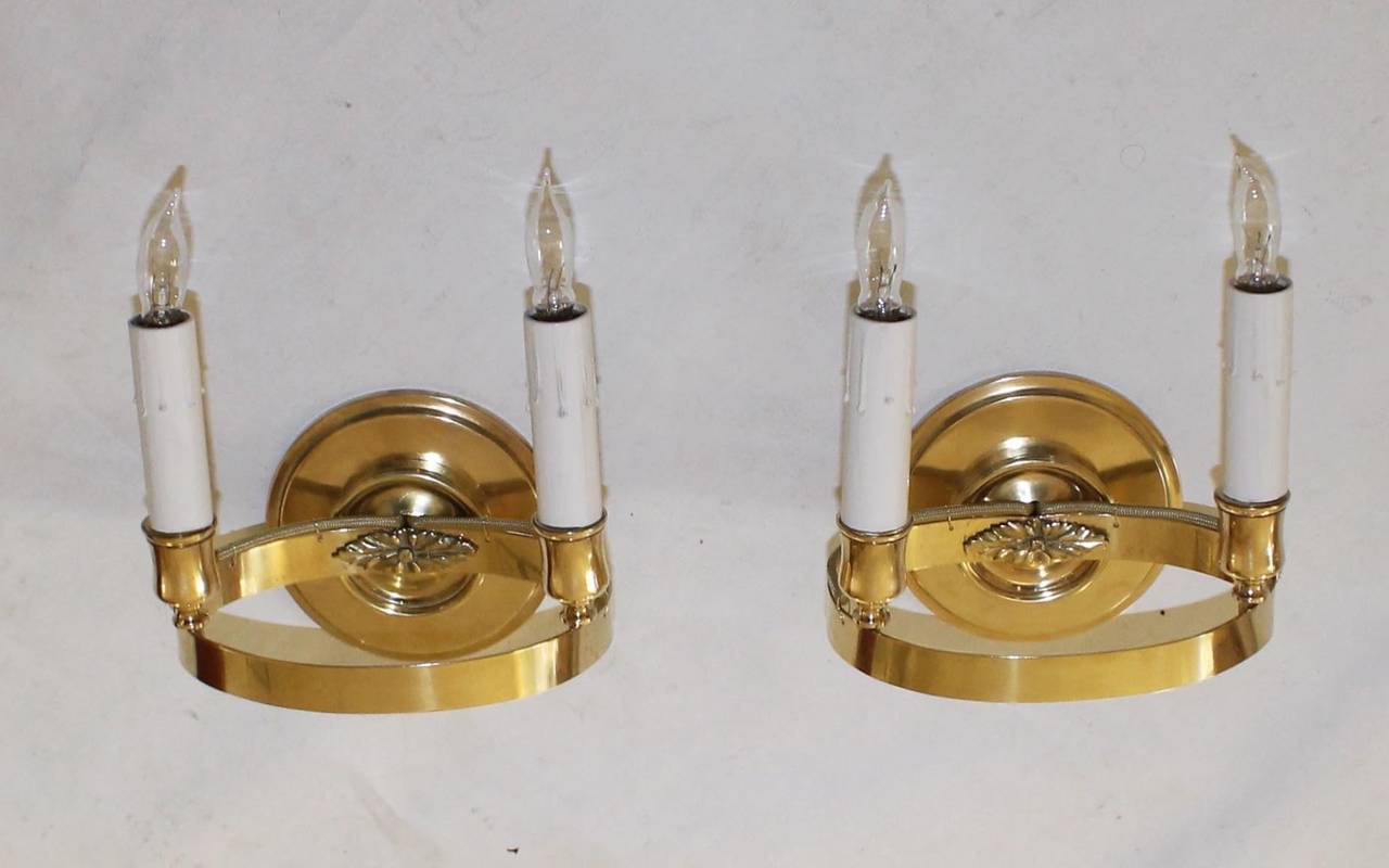 French Brass Wall Sconces : French Brass Empire Style Wall Sconces For Sale at 1stdibs