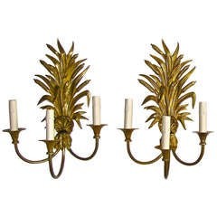 Maison Charles French Wheat Roseaux Gilt Bronze Wall Sconces