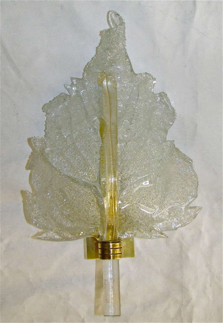 Wall Sconces With Leaves : Pair Barovier Murano Rugiadoso Leaf Wall Sconces at 1stdibs