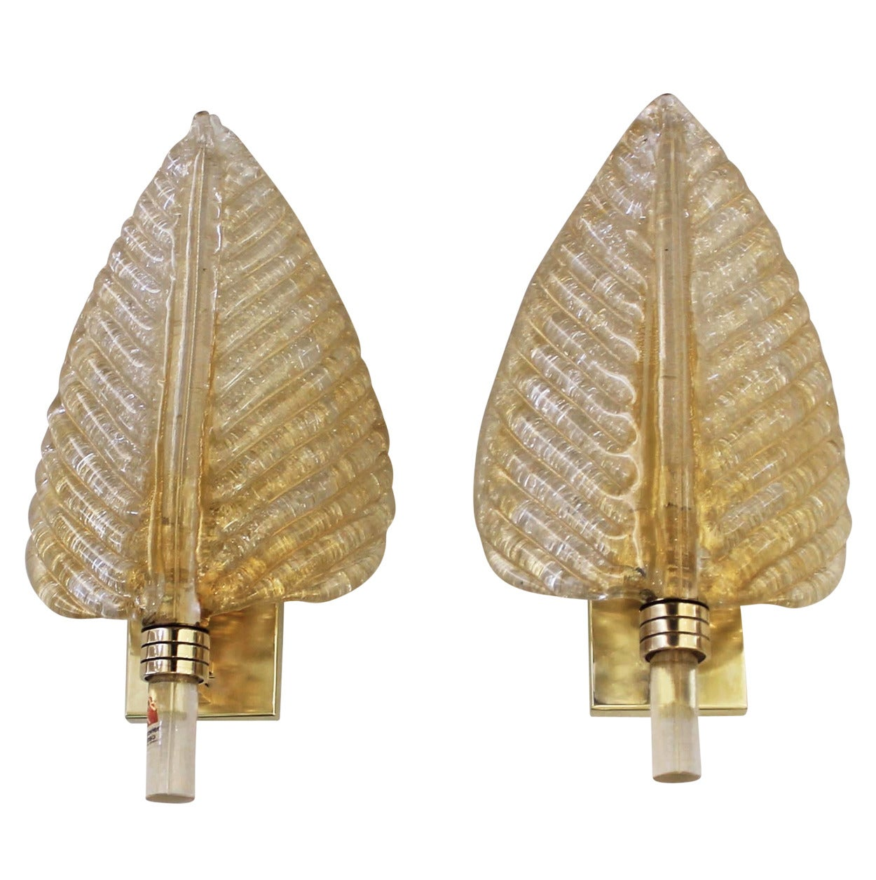 Glass For Wall Sconces : Pair Barovier and Toso Murano Glass Plume Leaf Wall Sconces For Sale at 1stdibs