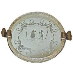 Murano Venetian Round Glass Vanity Tray