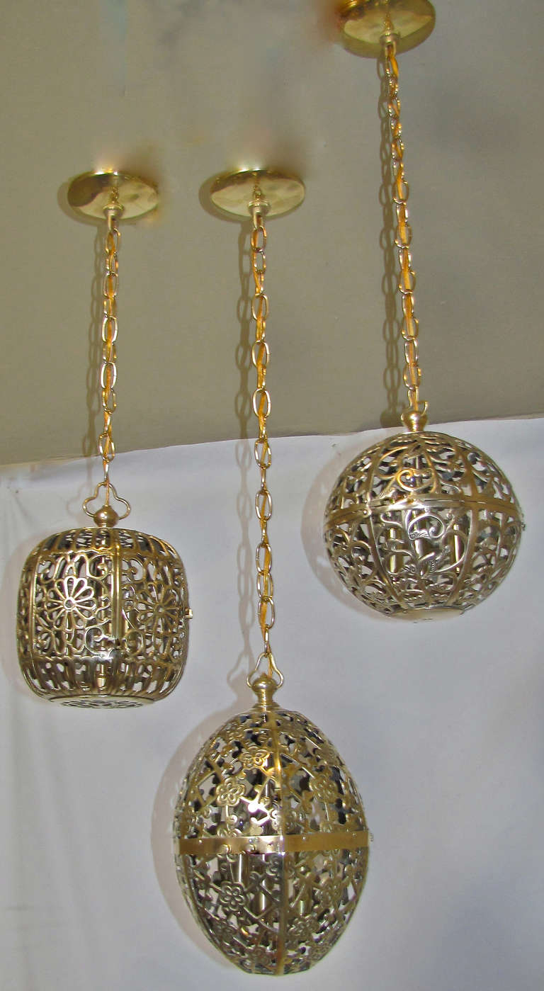 Trio Mixed Pierced Brass Asian Ceiling Pendants 9