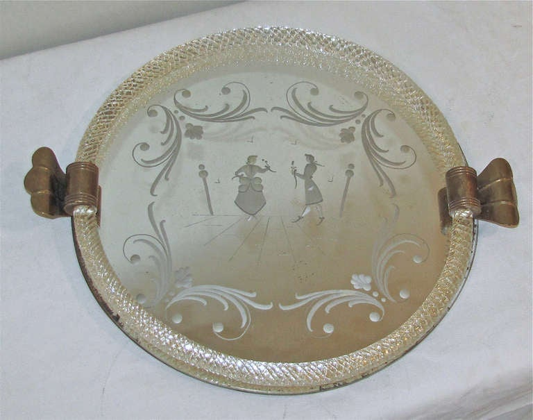Murano Venetian Round Glass Vanity Tray For Sale At 1stdibs