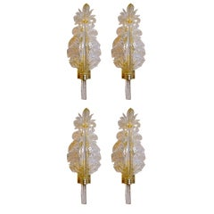Set 4 Barovier & Toso Murano Italian Glass Leaf Wall Sconces