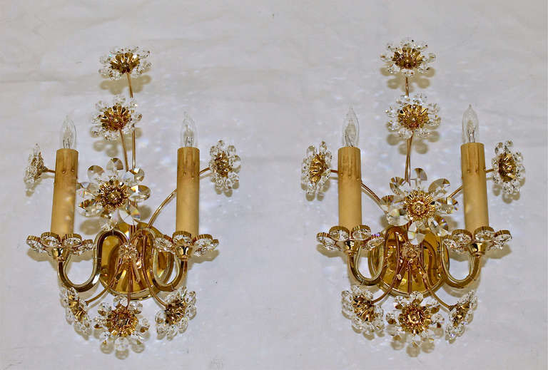 Pair Crystal Floral Gold Plated Wall Sconces at 1stdibs