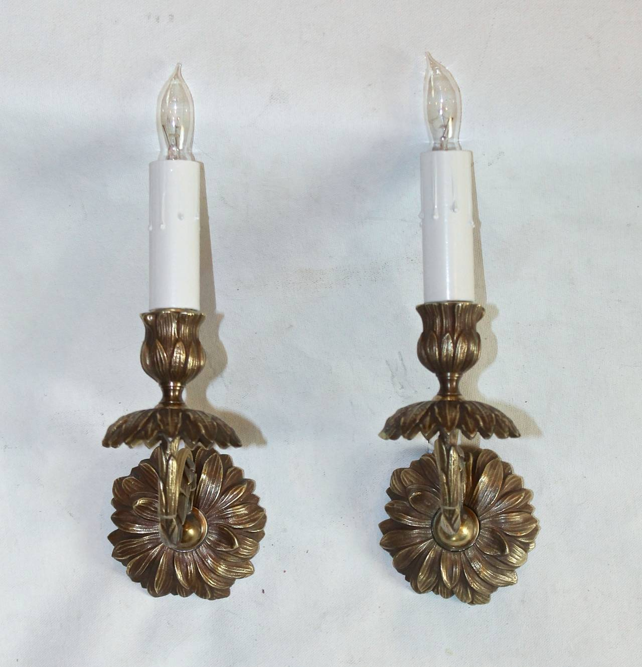 Wall Sconces With Flowers : Pair of Bagues French Bronze Flower Wall Sconces at 1stdibs